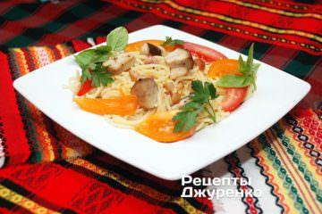Фото до рецепту: спагеті з грибами