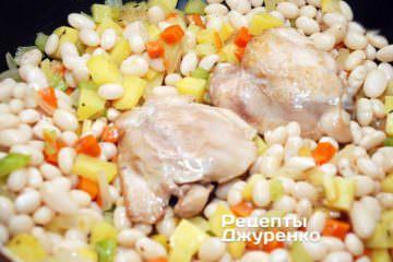 Добавить врагу отваренную фасоль и курицу