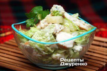 Фото до рецепту: курка з пекінською капустою