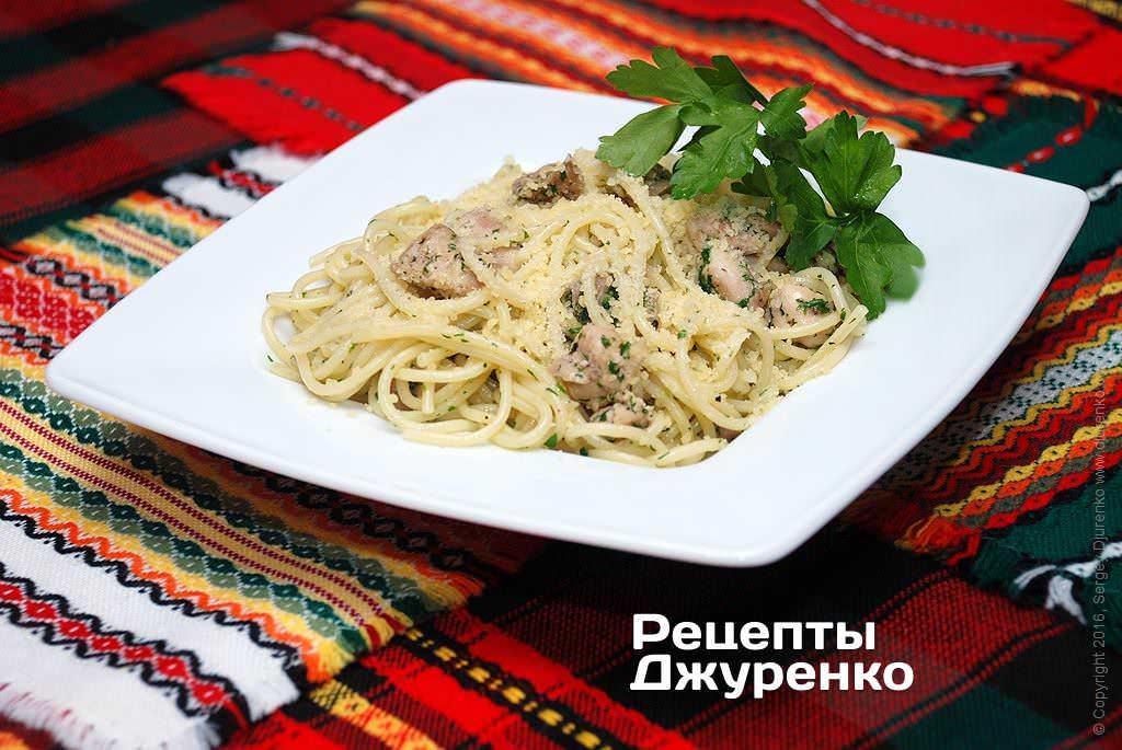 Фото готового рецепту спагетті з куркою в домашніх умовах
