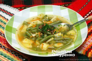 Фото рецепта суп изстручковой фасоли