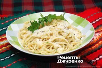 Фото к рецепту: спагетти ссыром