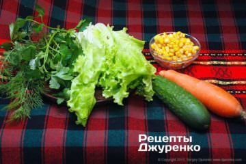 Овощи для салата из тунца