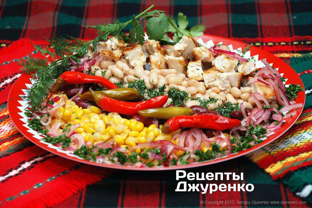 Фото готового рецепта салат с фасолью и курицей в домашних условиях