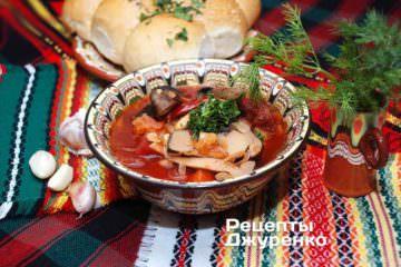 Фото рецепта борщ з грибами