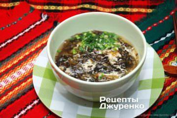 Фото рецепта китайський суп з яйцем і водоростями