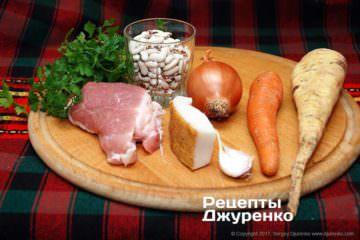 фасоль, мясо и овощи