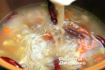 влити в суп пюре