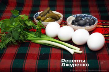 яйця та інші інгредієнти