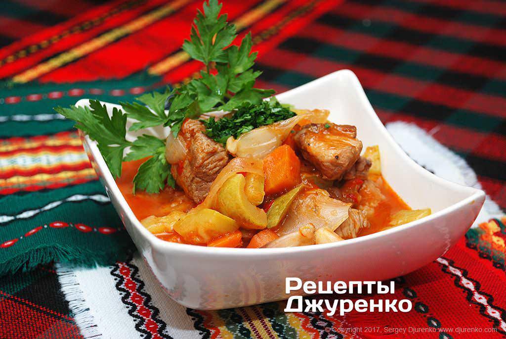 Рецепт мясного овощного рагу