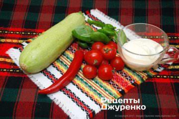 овощи и сметана