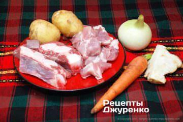 м'ясо і овочі для супу