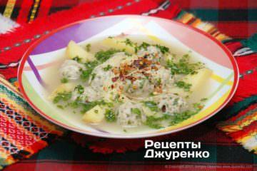 Фото рецепта суп з фрикадельками
