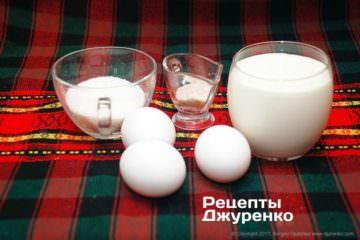 вершки, яйця, ваніль і цукор
