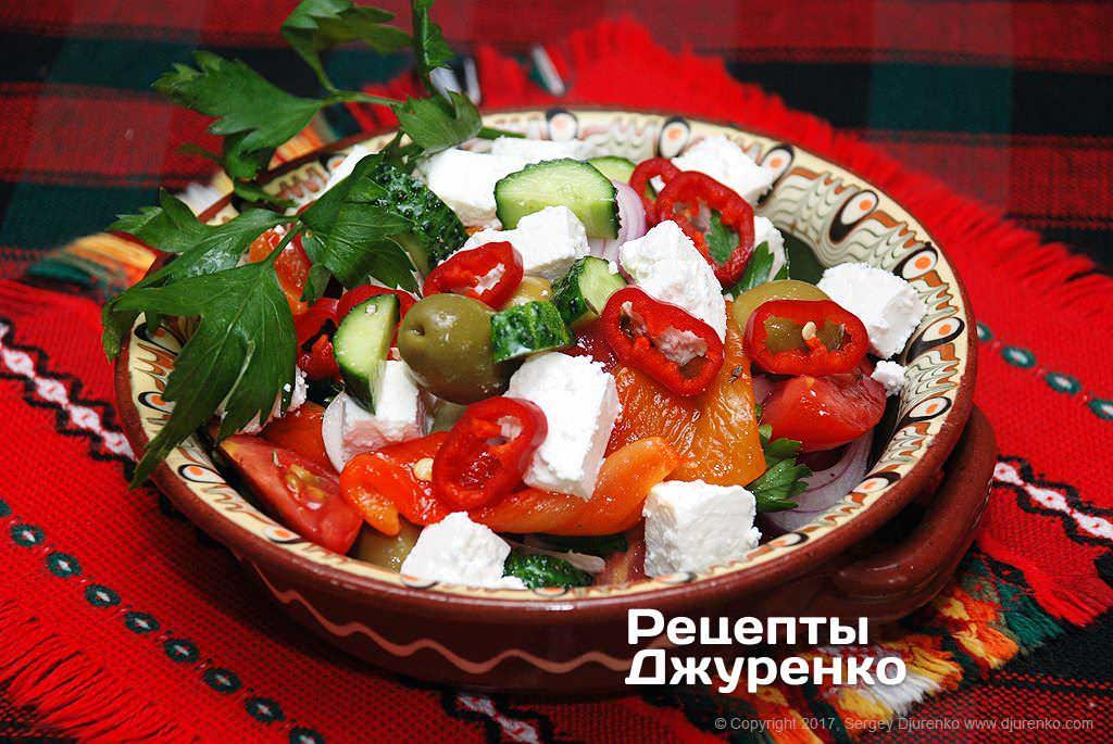 Фото готового рецепта салат с брынзой в домашних условиях