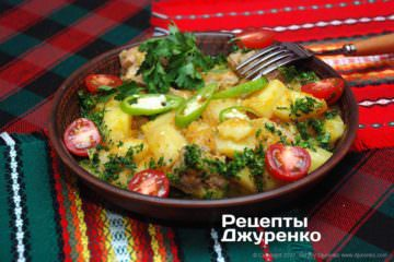 Фото рецепта свинина тушкована з овочами