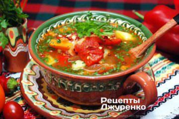 Фото к рецепту: суп сболгарским перцем