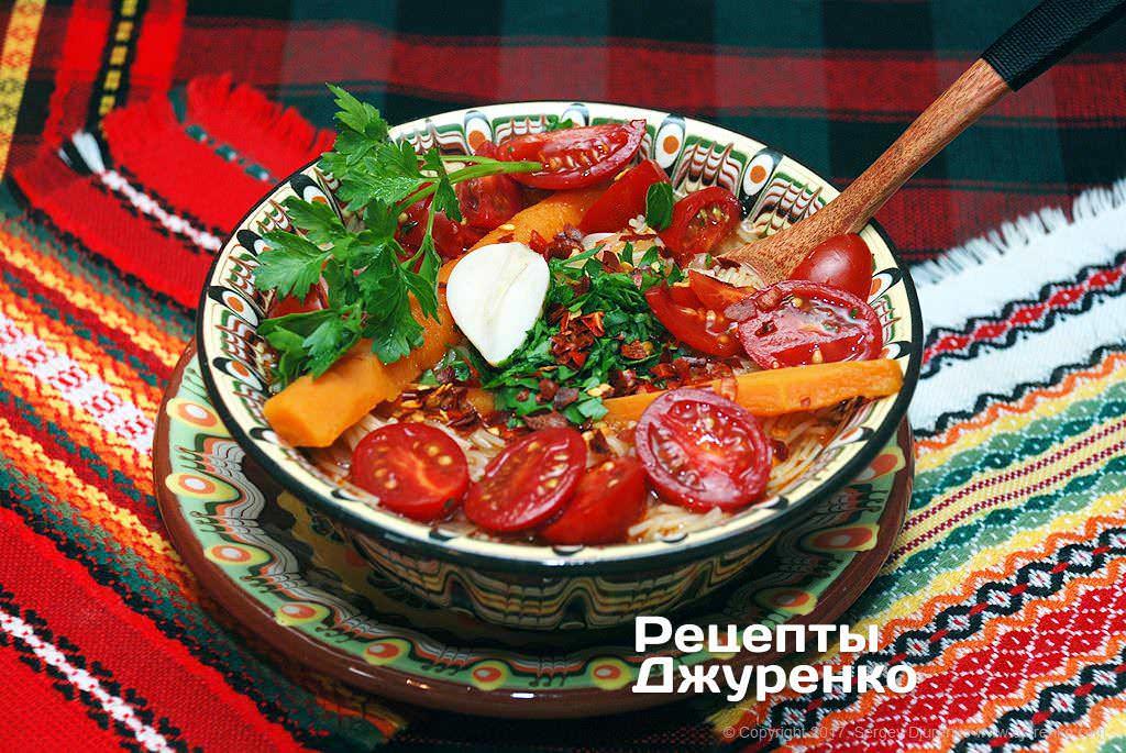 Фото готового рецепта суп из томатов в домашних условиях