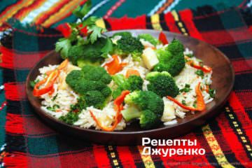 Фото к рецепту: рис с брокколи