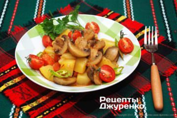 Фото рецепта шампиньоны с картошкой
