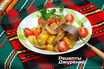 шампиньоны с картофелем