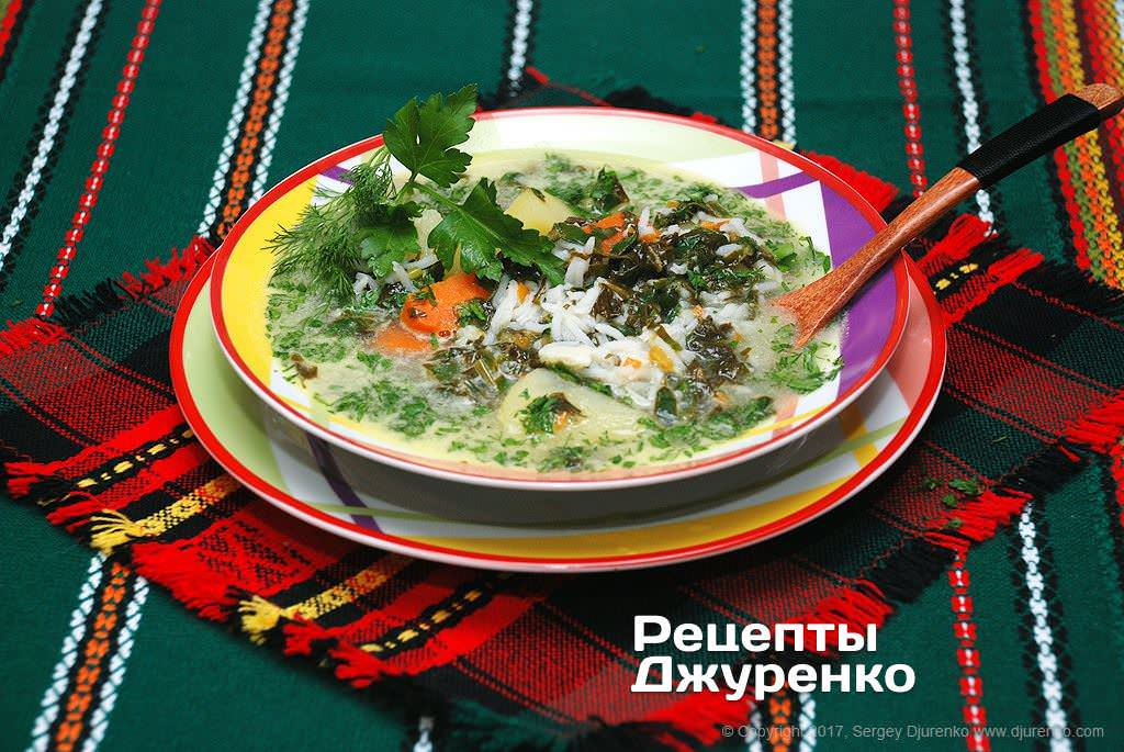 Фото готового рецепта суп из щавеля в домашних условиях