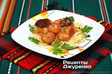 Фото рецепта спагетти с фрикадельками