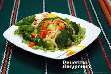 Фото рецепта спагетти с овощами