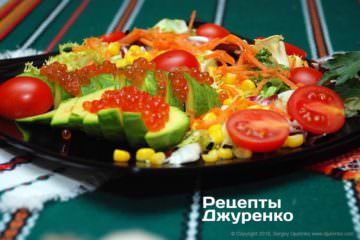 Фото рецепта салат с красной икрой