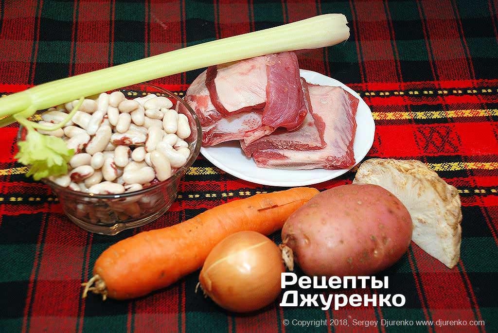 Мясо и фасоль.