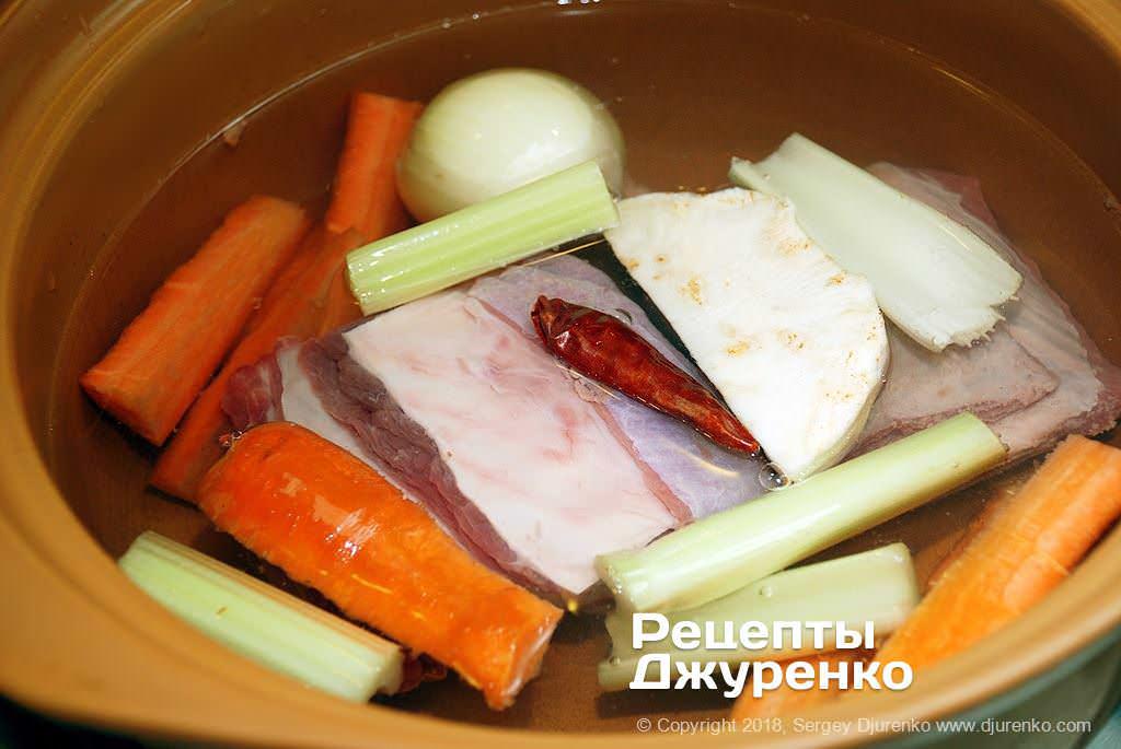 Мясо и овощи для бульона.