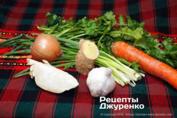 Шаг 2: овощи и зелень