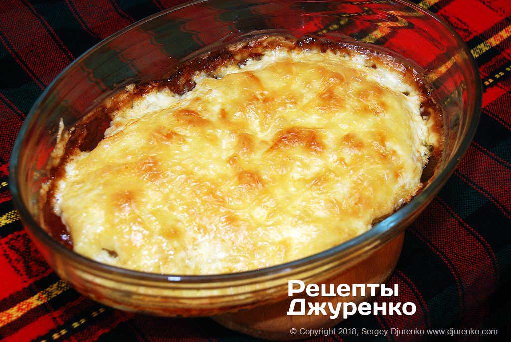 Запеченное мясо под сыром.