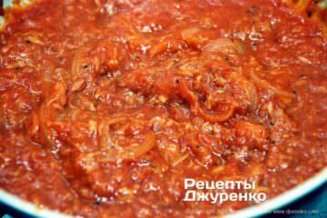 Шаг 7: соус из тунца с томатом