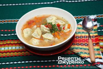 Фото до рецепту: суп з пельменями