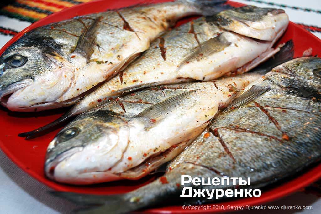 Смазать рыбу жиром.