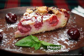 Фото рецепта клафути с вишнями