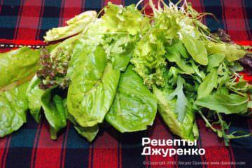 Шаг 2: зелень для салата