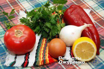 Як приготувати Салат з білої квасолі — піяз. Крок 6: овочі та зелень