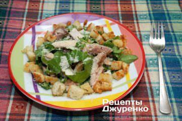 Фото рецепта салат цезарь с жареной курицей
