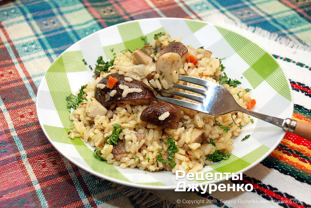 Готова страва Плов з грибами — тушкований з білими грибами розсипчастий рис.
