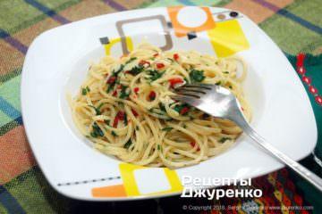 Фото к рецепту: спагетти смаслом ичесноком