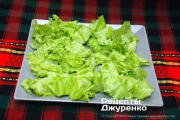 Шаг 5: зеленые салатные листья