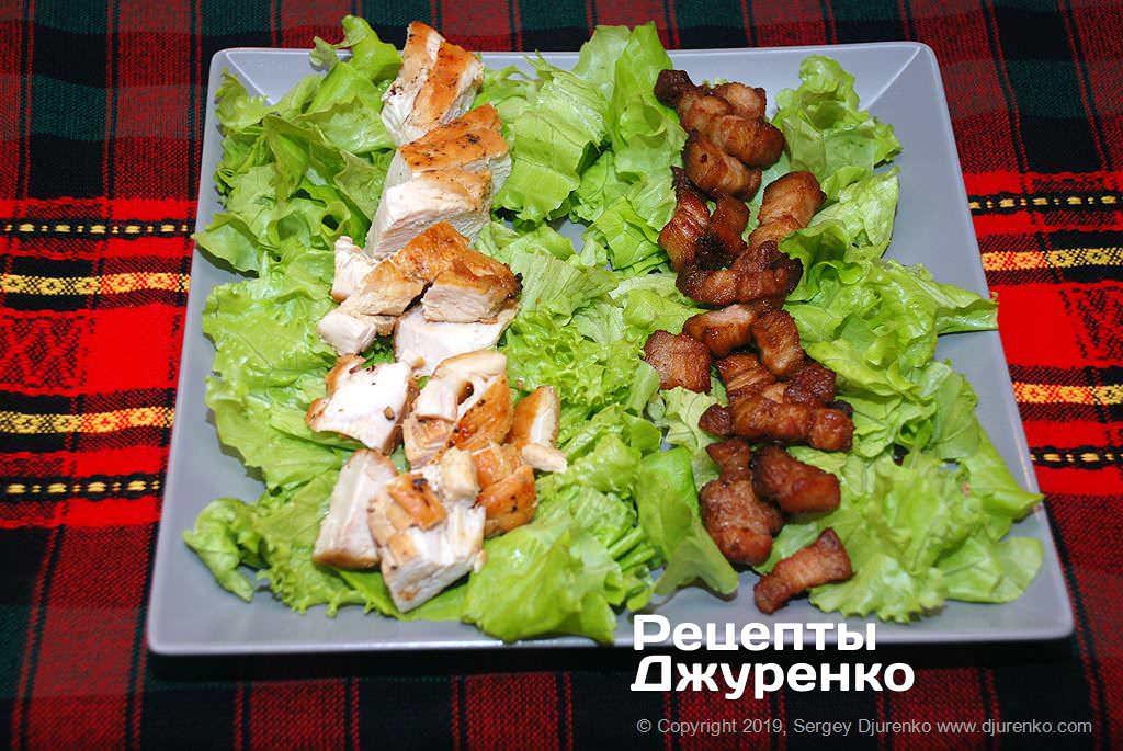 Як приготувати Салат кобб. Крок 12: бекон і смажена курка