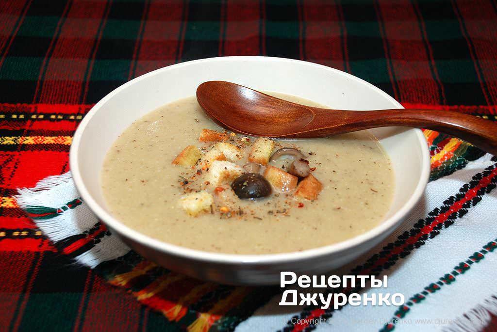 Фото готового рецепта грибной суп-пюре в домашних условиях