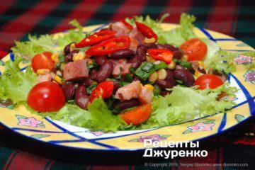 Готовое блюдо салат с красной фасолью