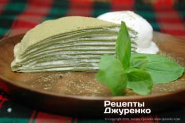 Фото рецепта японский блинный торт с матча