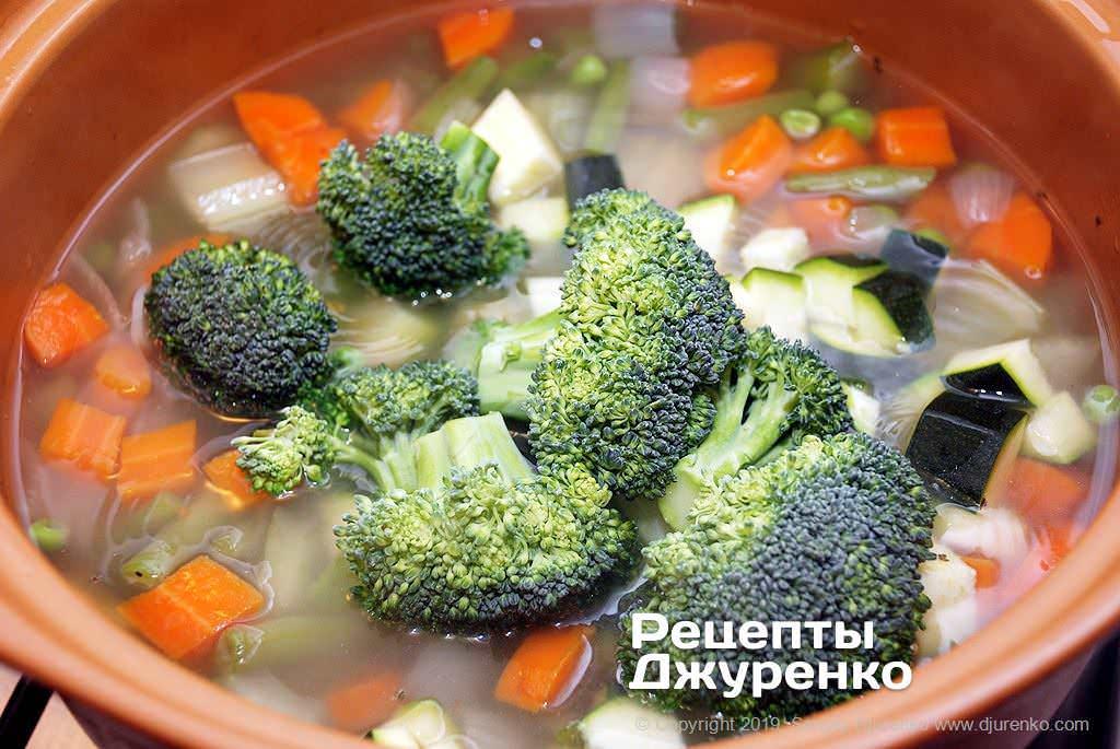 Как приготовить Минестроне. Шаг 8: брокколи в супе
