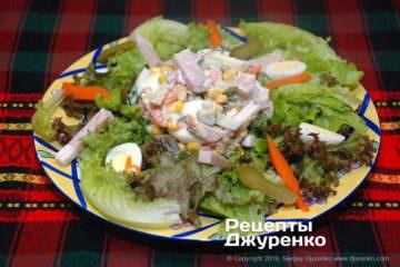 Готовое блюдо салат с бужениной
