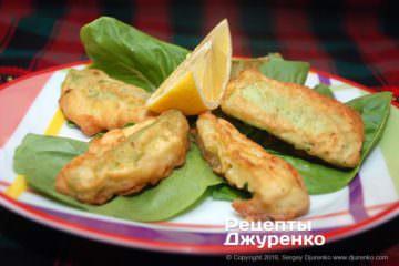 Фото рецепта кабачки в кляре жареные во фритюре